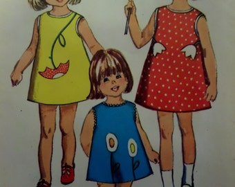 """1966 Sleeveless A-Line Dress Pattern Simplicity 6475 Child's 2 Breast 21"""". Cute Appliqued SUMMER DRESS PATTERN and More at WhiletheCatNaps"""