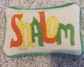 Shalom needlepoint pillow