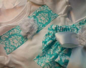 Baby Girls Coming Home outfit Aqua Damask Custom Ruffled Bloomers Set