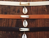 SC-03, cowrie shell leather choker,anklets