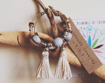 TS-01, Chose color,handmade tassel brass hoop earrings with coconut and Jacob's tear drop beads. gift idea,summer,