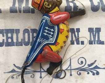 Vintage Marx Monkey Tin Litho Pull Toy