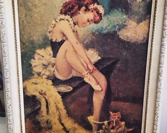 Vintage Ballerina Framed Shabby Wall Hanging