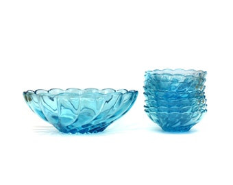 Vintage Aqua Swirl Glass Serving Bowl with 8 Small Bowls (E6204)