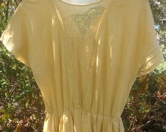 Vintage Yellow 100% Cotton Dress circa 50's-70's
