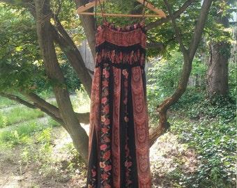 70s Boho Maxi Sundress, Floral, Shoulder Bow Ties
