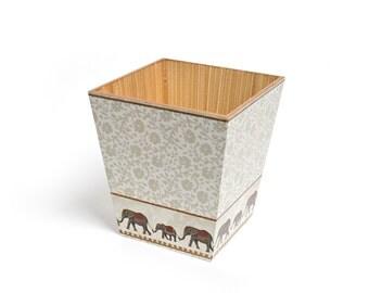 Elephant  Waste Paper Bin Trash Can Handmade Wooden handmade in UK