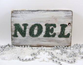 NOEL wood Christmas sign holidays wall hanging upcycled