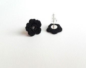 Crochet Tiny Flower Earrings Sterling Silver Post Stud Earrings Blackest Black Little Black Dress