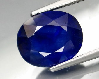 Large Velvety Deep Blue Sapphire Faceted Oval, 5.93 Carat, 11 x 9 MM