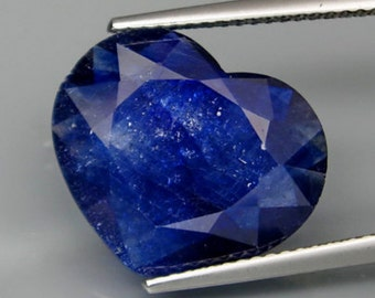 Different And Large Two Faced Deep Blue Sapphire Faceted Heart Shape Slice, 5.57 Ct  15 x 12 MM