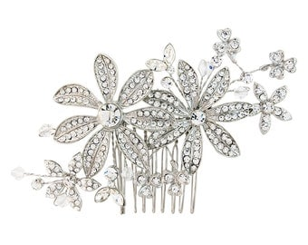 Bridal Crystal Hair Comb. Large spray floral flower hair accessory