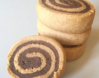 Peanut Butter & Carob Pinwheels - All Natural Dog Treats - large treats for dogs - 4 per package