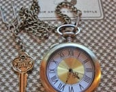 Sherlock Pocket Watch w. MAGNIFIER glass cover and 221 B Key on single albert chain, stands alone, bronze, goldtones, quartz, battery op