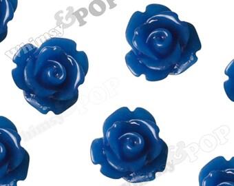Royal Blue Rose Cabochons, Flower Cabochons, 10mm Rose Cabochons, Flat Back Roses, 10mm x 6mm (R1-066)