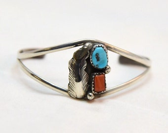 Vintage Sterling Native American Southwest Turquoise & Coral Cuff Bracelet