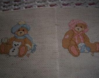Teddy Bear Completed Cross Stitch Nursery Decor