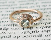 Vintage Rose gold ring| HandMade round peach sapphire and diamonds ring light green sapphire and diamonds half-moon ring