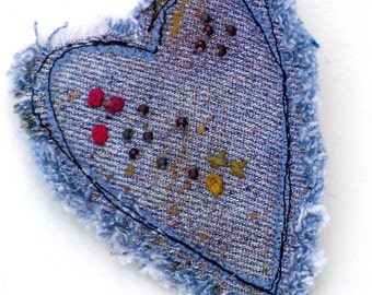 Mixed Media Magnet Heart Recycled Denim