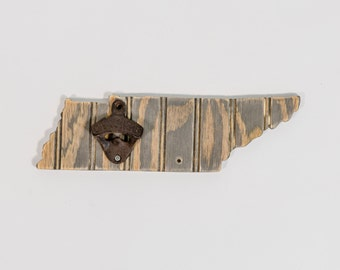 Wooden Tennessee State Bottle Opener, Distressed Bead Board State, Nantucket Stain