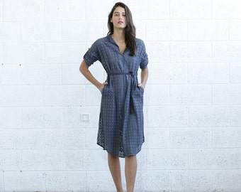 Summer SALE Embroidered Button down dress, Gray.