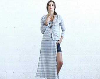 Summer SALE SALE 30%0FF!Striped Cardigan, Gray.
