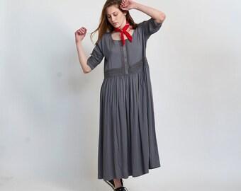 Placket Eyelet maxi dress-maxi Grey dress.