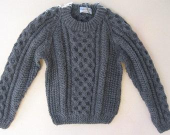 Authentic Irish Fisherman Sweater in Heather Grey ~ 3-4 years