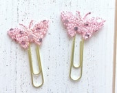 Pink Butterfly Gold Paperclips, Jumbo Gold Paperclips, Shabby Chic Butterfly Paperclips, Set of 2 Butterfly Paperclips, Butterfly Bookmarks
