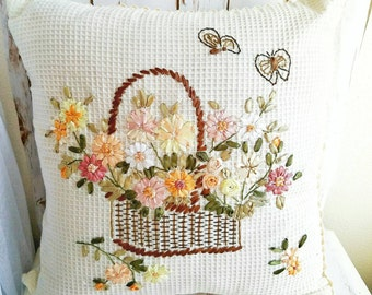 Silk Embroidery Pillow Case, Shabby Chic Pillow, Silk Ribbon Embroidery, Handmads Pillow Case, Victorian Pillow Case, Floral Embroidery
