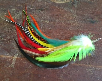 Single Feather Earring Pixie Colorful Feathers Long Earring Solo Red, Yellow, Orange, Green, Grizzly OOAK