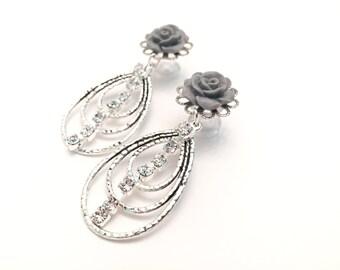 4g Dangle Plugs 0g 2g Gauges Choose Color 6g 00g Ear Plugs Crystal Ear Tunnels Lightweight Silver Rhinestone Dangles Post/Stud Earrings