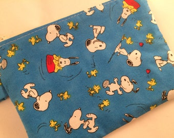 Snoopy and Woodstock Small Zippered Pouch, Stocking Stuffer, Peanuts, Coin Purse, Notions Case