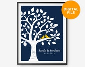 Printable Personalized Wedding Tree Print, Anniversary Gift, Love birds Newlyweds Gift