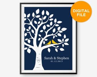 Printable Personalized Wedding Tree Print, Anniversary Gift, Love birds Newlyweds Gift
