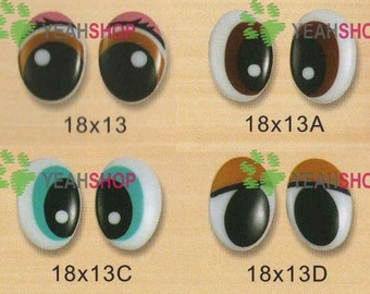 18mmx13mm Plastic Oval Comic Eyes / Safety Eyes / Printed Eyes - 4 Styles