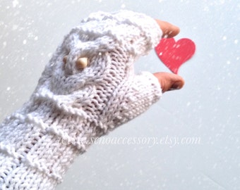 Knit Fingerless Gloves Owl Gloves Women Gloves Winter Accessories Knit Gloves Mittens / gifts for her / valentines day gift // senoaccessory