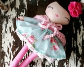 "Custom Order 17"" Maggie Doll, Heirloom Quality Rag Doll, SpunCandy Handmade Doll, Brunette Hair, Pink and Blue Floral Dress, Pink Bonnet"