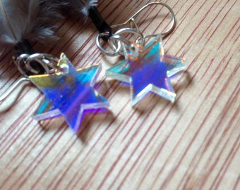 Feathered Star Iridescent Earrings