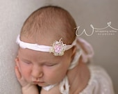 Ready to Ship Pink Flower Tieback. Vintage Style Pink Rose Headband. Flower Headband. Newborn Headband. New Born Photography Prop.UK SELLER