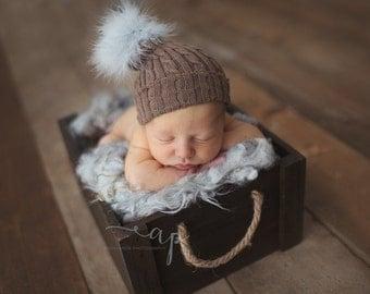 Newborn Hats. Newborn Prop Pompom Hat. Baby Hats. Newborn Baby Pompom Hat. Fur Pompom Hat. Hats. Newborn Photography Prop. UK Seller