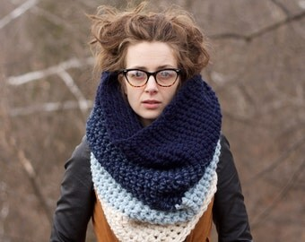Extra Chunky Cowl / Large Crochet Cowl / THE HIGH RISE / Blue Cowl / Ombre Cowl / Ocean Cowl