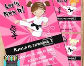 KARATE GIRL PINK invitation - you print - 3 to choose - with or without photo