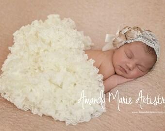 ivory Baby tutu- baby pettiskirt- ivory pettiskirt - ivory tutu- newborn tutu - lace tutu- lace pettiskirt- infant baby tutu- cream tutu
