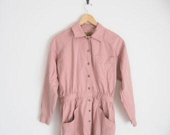 Vintage Pink Safari Dress. Vintage 90s Dress. Utilitarian Button Down Wiggle Dress.