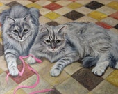 Two pets custom cat portrait painting from photo 12x16 16x20 hand painted on canvas