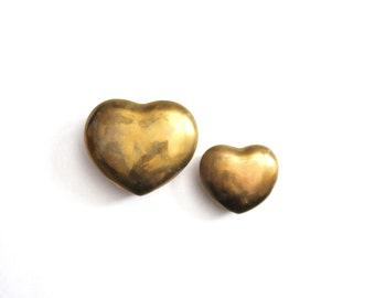 Large Vintage Brass Heart Box