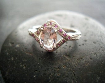Layla - Genuine Morganite & Ruby Ring - Alternative Engagement Ring - 925 Sterling Silver Ring - Unique Unusual Wedding Ring