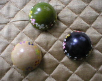 Set of Three Vintage Wood Buttons With Hand Painted Flowers on Border