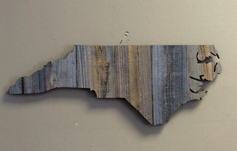 Handmade Baskets North Carolina : North carolina state shape rustic wood sign hanger